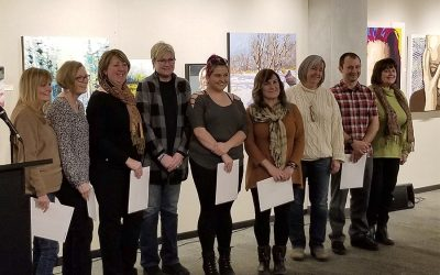 A Gift of Art instructors winnners at the 2020 Eastern Central Ontario Art Association show