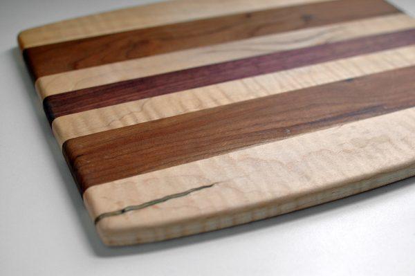 Cutting Board Purple Heart Curly Maple Cherry