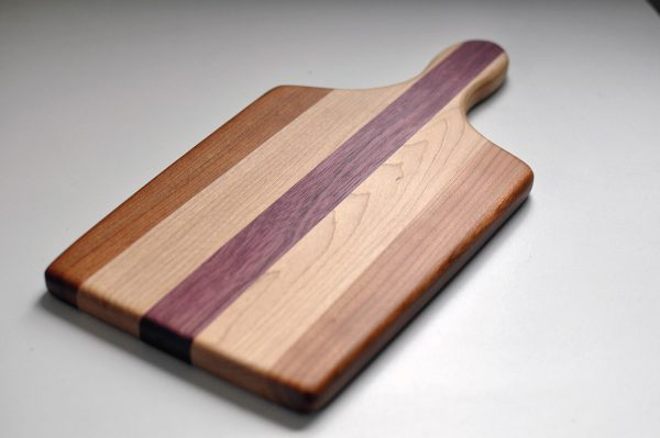 Small Cutting Board with Handle Purple Heart Maple Cherry