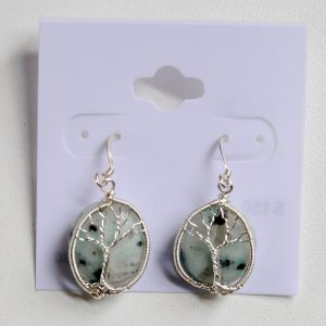 Sesame Jasper – Tree Earrings