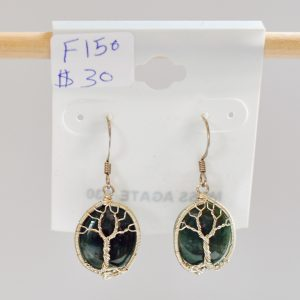 Moss Agate – Tree Earrings