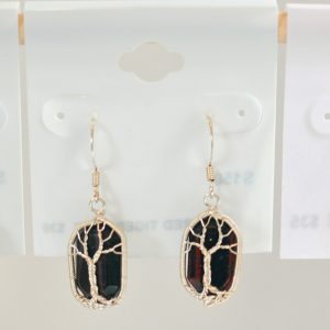 Red Tigers Eye – Tree Earrings