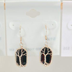 Red Tigers Eye – Tree Earrings