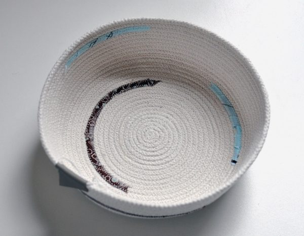 Large Cord Bowl, light blue and brown