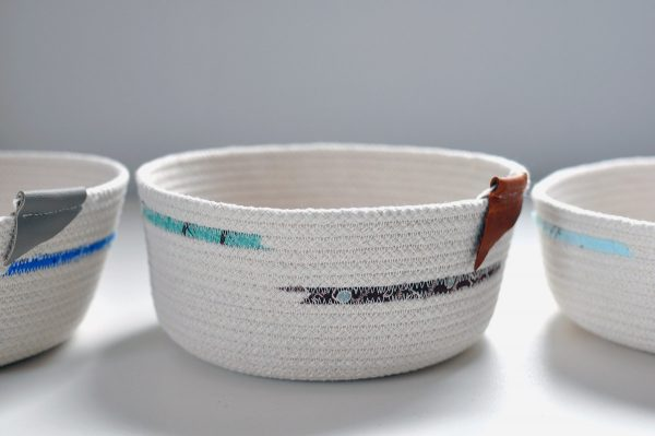 Large Cord Bowl, turquoise and brown