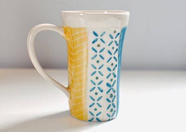 Tall Mug – Aqua/Gold