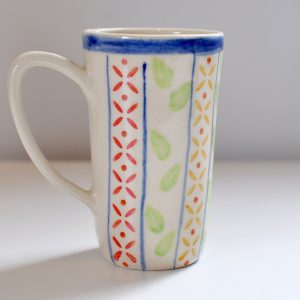 Tall Mug – Multi Colour Blue Rim