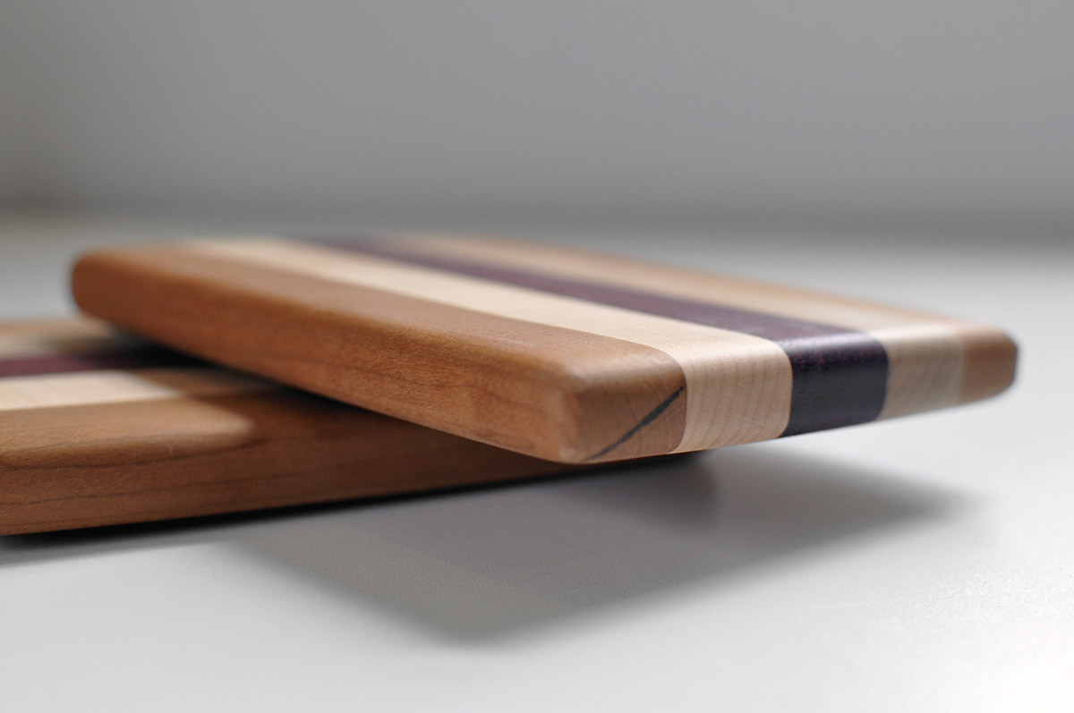 Great Gift!!! Gorgeous Rich Burgandy Hue Long Grain Purple Heart Cutting Board  with a Maple Accent Center