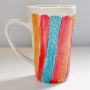 Tall Mug – Cream/Gold Red/Aqua