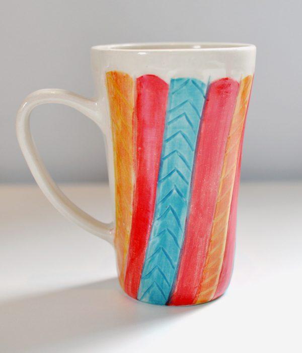 Tall Mug – Cream/Gold Red/Aqua