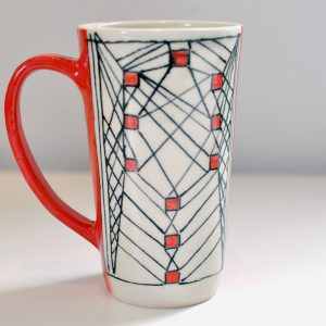 Tall Mug – Red/Black/Cream