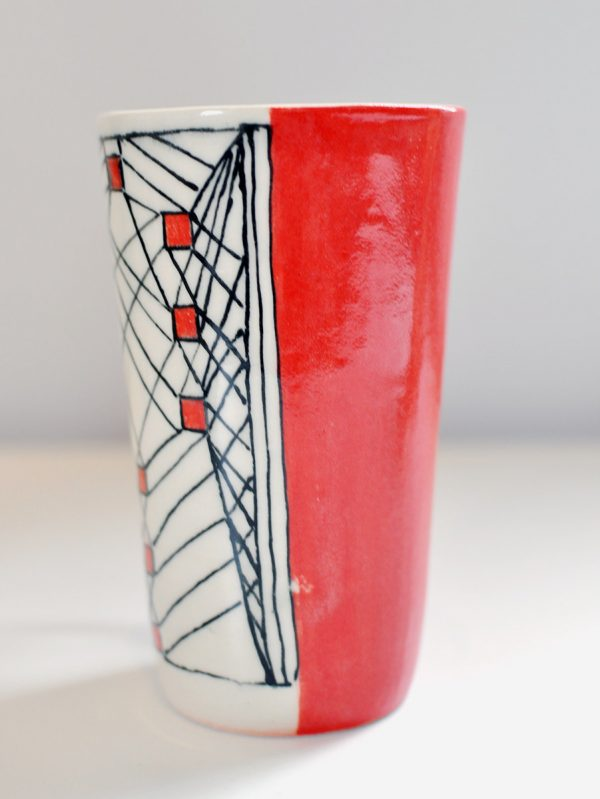 Tall Mug – Red/Black/Cream