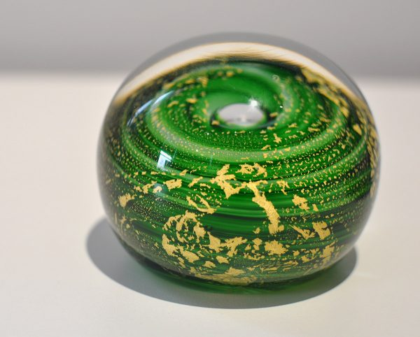 "Green Paperweight ""Gold Leaf"""