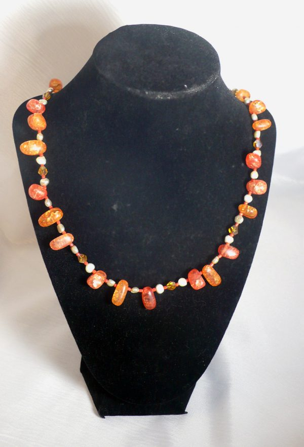 Red/Orange GlassBead Freshwater Pearl – Necklace
