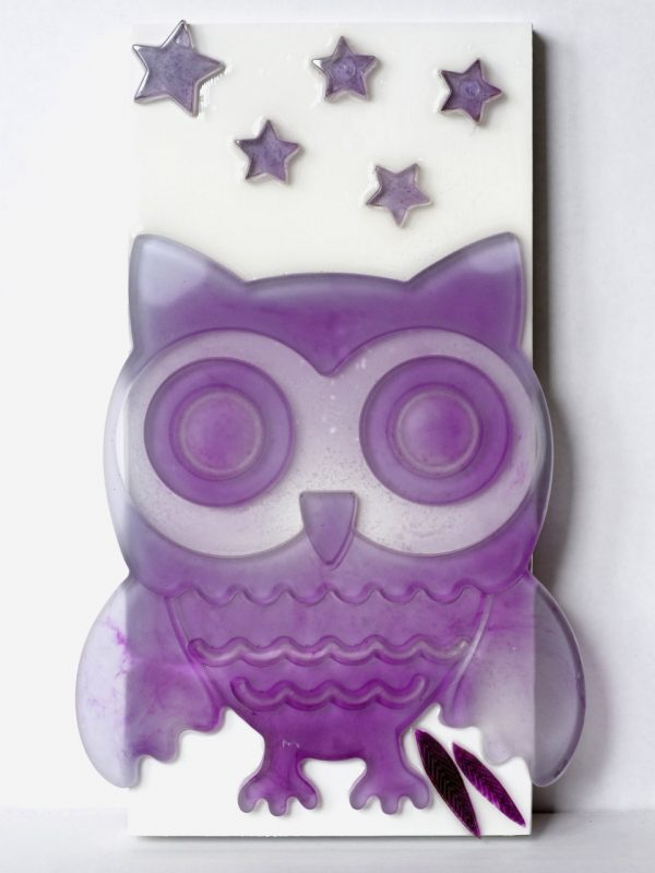 Purple Owl Fused Glass