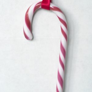 Red Glass Candy Cane Ornament