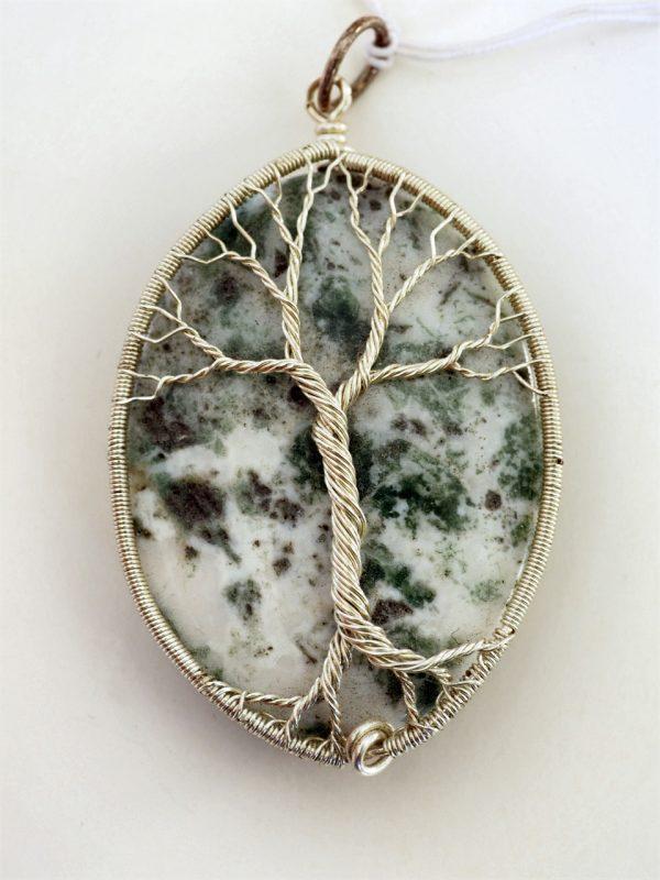 Moss Tree Agate Tree of Life Pendant