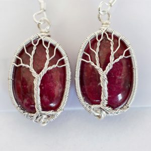 Thulite Tree of Life Earrings