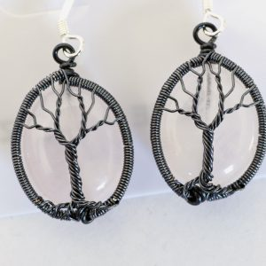 Rose Quartz Tree of Life Earrings