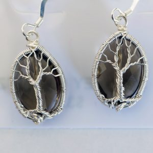 Smoky Quartz Tree of Life Earrings