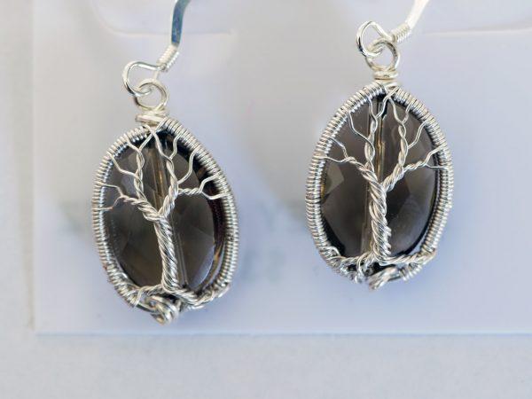 Smoky Quartz Tree of Life Earrings