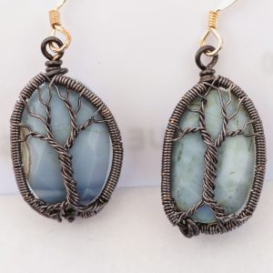 Blue Opal Tree of Life Earrings