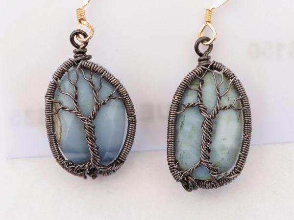 Blue Opal Tree of Life Earrings