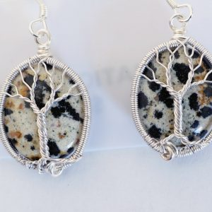 Dalmatian Jasper Tree of Life Earrings