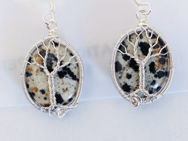 Dalmatian Jasper Tree of Life Earrings