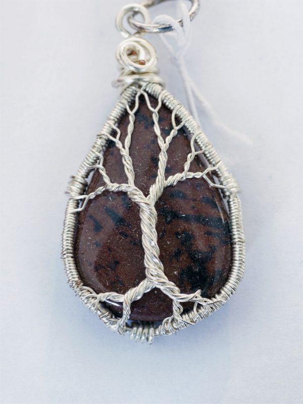 Mahogany Obsidian Tree of Life Pendant