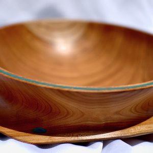Black Cherry Bowl with Aqua Resin