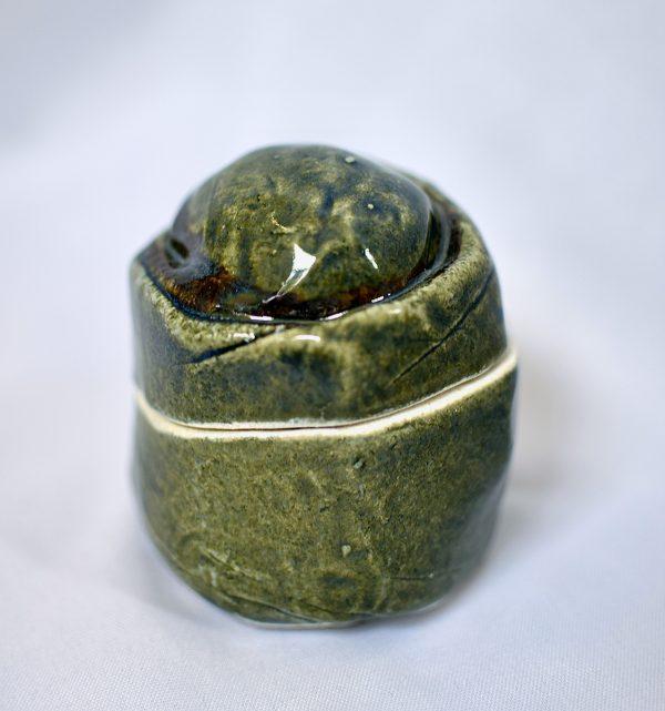 Hand-Build Jars, emerald green and dark brown
