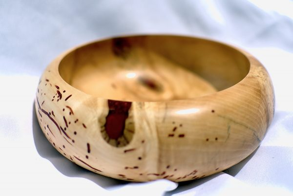 Silver Birch Bowl with red resin highlights