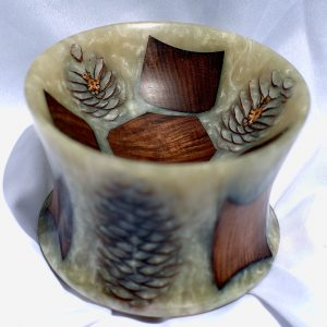 Jatoba wood bowl with pinecones and resin