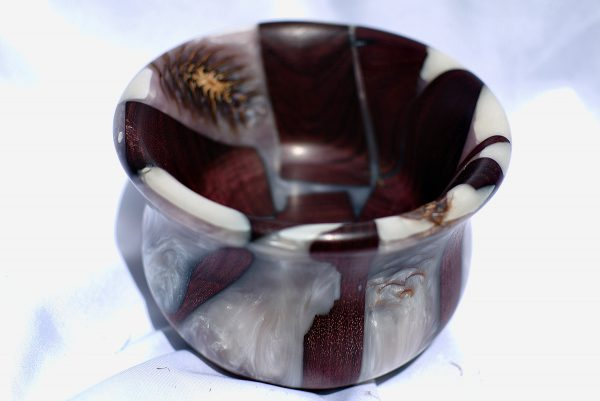 Purpleheart pinecone and resin bowl