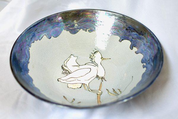 Salad bowl dancing bird Mother of Pearl
