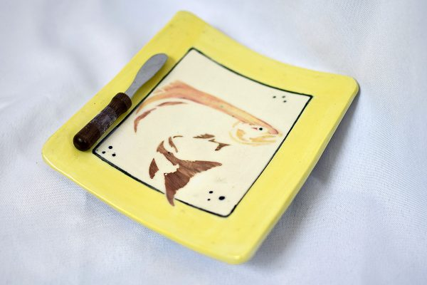 Yellow Slab Tray with Knife